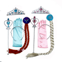 Wholesale baby magic set resale online - 5Pcs set baby girls Cosplay crown magic wand braid gloves Magic Wand Rhinestone Hair Crown Glove Set Girl costume makeup accessory