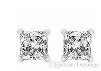 14 k ct altın toptan satış-3.5 Ct su Diamonds Prenses Kesim Saplama Küpe Ile 14 k Gerçek Beyaz Altın Vida Geri