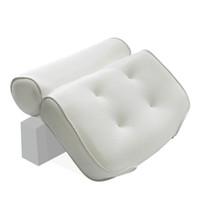ingrosso coperte di sedia bianca gialla-3D Mesh Bagno Vasca da bagno Cuscino Antiscivolo Imbottito Vasca da bagno Spa Cuscino Schienale Poggiatesta Con ventose Collo Cuscino da bagno