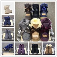 Wholesale long toes shoes for sale - Group buy Women Australia U G Satin Bow Boots Brand Winter Shoes Suede Leather Ankle Boots Ladies Bailey Bow Wool Fur Mid Calf Long Snow Boot C101602