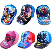 головные уборы для детей бейсбол оптовых-Детские кепки Marvel Avengers Spiderman Trolls Шапки Шапки Детские бейсболки Мальчики девочки Мультфильм Принцесса Шляпы от солнца