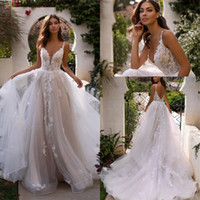 Wholesale beach wedding dresses layered for sale - Group buy Beach Bohemian Lace Wedding Dresses Spaghetti Straps Tulle Layered Ruffles Backless Sweep Train Wedding Bridal Gowns