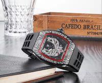 часы для женщин серебристый оптовых-2019 топ-версия 51-02 серебро безель / люнет с бриллиатами винтовой линии скелетон циферблат с бриллиантами турбийон Miyota с автоподзаводом женщины мужчины белые резиновые часы