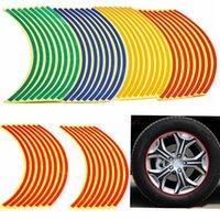 neumáticos de moto envío gratis al por mayor-Automóviles envío 16 Tiras Car Styling motocicleta Neumático de la rueda pegatina en la Cuenca etiqueta engomada del coche de la cinta Accesorios aparcamiento