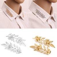 pescoço banhado a ouro venda por atacado-1 par de trigo do vintage folha ramo de ouro prateado pescoço ponta broche pin colar