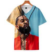 модные сорочки оптовых-Мода принт nipsey hussle сувенир бейсбол джерси балахон горячий продавец рэпперы футболка хип-хоп арт мужская и женская графика футболка