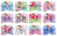 kartonverzierungen großhandel-8 Zoll Jojo Bogen Regenbogen Einhorn Haarnadel 12 Designs riesige Bowknot Headwear Kinder Party Haarschmuck mit Pappe