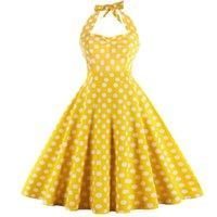 ingrosso vestiti casuali gialli più il formato-Wipalo Donna Estate Vintage Polka Dot A-line Party Dress Plus Size Giallo Casual Halter In Cotone Abiti Feminino Vestidos Q190429