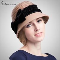фетровые шляпы оптовых-Sedancasesa женская шляпа колокольчик мода осень зима согреться мило бантом шерстяные войлочные шляпы ведро для девочек шерстяная шапка FW014070