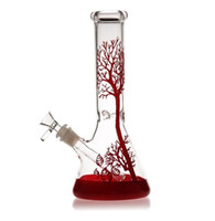 bong için 14 mm kaseler toptan satış-2019 kırmızı ağaç Cam Bong nargile cam su boruları geri dönüşüm 11 inç bonglar kurulamak teçhizat yağ yakıcı kül tutucu gaz verici 14mm kase deney tüpü