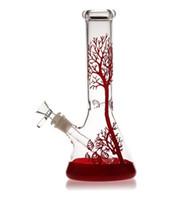 tuyau de narguilé achat en gros de-2019 arbre rouge verre Bong tuyaux d'eau en verre narguilé bécher recycleur 11 pouces rig bol receveur barboteur 14mm cendres du brûleur à huile dab bongs