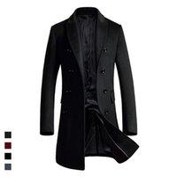 çift göğüslü trençkot ceket erkek kış toptan satış-Uzun tasarım yeni stil yün ceket erkekler kısın yaka kruvaze yün trençkotlar erkek ince palto 2018 sonbahar kış