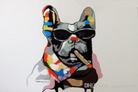 Wholesale museum art painting resale online - Framed French Bulldog Cigar Dark Glasses Mixed Media Pop Art Genuine Hand Painted Modern Animal oil Painting Museum Quality Multi size J034
