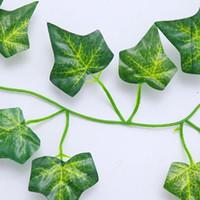yapay çelenk bitkileri toptan satış-1 Adet 2m Yapay Ivy Yeşil Yaprak Garland Bitkiler Vine Sahte Yeşillik Çiçekler Ev Dekorasyonu Plastik Yapay Çiçek Rattan Dize