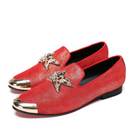 marca sapatos de festa homens venda por atacado-Nova marca de couro de camurça artesanal homens sapatos de casamento moda mocassins sapatos de festa de luxo dos homens apartamentos dos homens H334