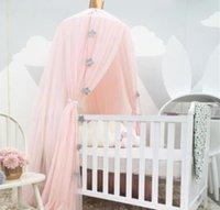 taç giyimi toptan satış-Çocuk Yatak Cibinlik ile Kağıt Taç Yıldız Romantik Yuvarlak Yatak Cibinlik Yatak Örtüsü Çocuklar Için Pembe Hung Dome Yatak Canopy yatak
