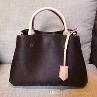 moda kahverengi omuz çantası toptan satış-2018 Sıcak Satmak Moda Tasarımcısı Kadın Çanta Kahverengi L Mektup Bayan Çanta Yüksek Kaliteli Omuz Askısı Çanta Çapraz vücut Kadın Bez Çantalar Çanta