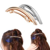 accesorios para el cabello celta al por mayor-Clips para el cabello de moda Niñas Metal Oro / Plateado Llano ARC Tube Big Hairgrip Pinzas para el cabello Horquillas Accesorios de peinado