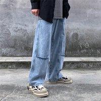 luces de calle modelo al por mayor-2019 Modelos de primavera y otoño, luz azul, lavado, calle principal, multi-bolsillo, pantalones de pierna ancha y recta, pantalones vaqueros sueltos M-2XL