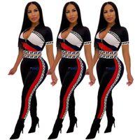 ingrosso due pezzi di abbigliamento sportivo-F Printed Tute da donna in due pezzi Set Sportswear T-shirt a maniche corte Short CropTop + Pantaloni Leggings Suit Summer Outfits A41503