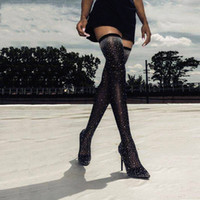 Wholesale size 35 thigh boots resale online - New Women Knee High Boots Sexy Elastic Pointed toe High Heels Slippers Crystal Decorated Women Boots Size XZ