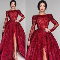 vestido vermelho longo mais tamanho venda por atacado-Plus Size Árabe Pageant Luxo Vermelho Vestidos de Noite Formais Mangas Compridas Apliques Frisado Frente Dividir Longo Vestidos de Festa de Baile Vestidos BC0652