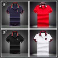 nach maß berühmtes kleid großhandel-2018 Verkäufe Berühmte Business-Männer Shorts Ärmel Polo-Shirts Beliebte Baumwolle Stickerei Weizen Polos Custom Designer gemacht Fred Hemden
