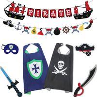 ingrosso costume del pirata del film-Cosplay Cape Pirate Costume Spada Banner Costumi a tema Perfetto gioco di ruolo Super Movie Knight Costume Purim di Capodanno