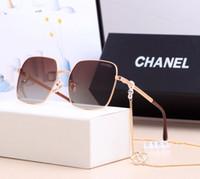 sonnenbrille kette groihandel-Mode Marke Sonnenbrille Frauen Designer großen quadratischen Rahmen Brillen mit Kette Sonnenbrille Plain Brille Reflektor gute Qualität Brillen