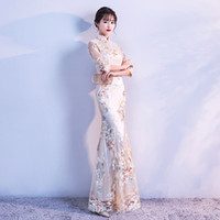 Wholesale formal clothes for women resale online - 2018 summer modern formal chinese dresses red lace blue plus cheongsam qipao long wedding dress red dresses clothing for women