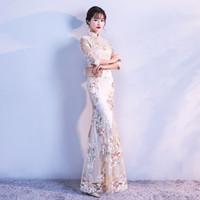 ropa roja china al por mayor-2018 verano moderno chino formal vestidos de encaje rojo azul más cheongsam qipao vestido de novia largo vestidos rojos ropa para mujeres