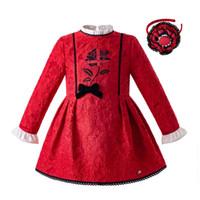 vestidos florales rojos niña larga al por mayor-Pettigirl 2019 estilo retro vestidos de niñas rojos de manga larga rosa vestido de fiesta pinted niña niño ropa niños diseñador de ropa G-DMGD107-B389