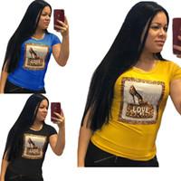 Wholesale leopard girl tee shirt resale online - Women Girls Love Letter Print Summer T shirt Beaded Hot Drilling T Shirt leopard print O Neck Short Sleeve Top Tees Shirt S xl C41502