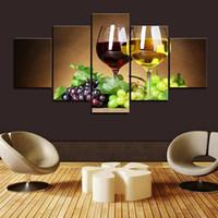 arte de la pared lienzo vino panel al por mayor-5 piezas enmarcadas whisky hielo copa de vino y uva cuadros de arte de pared para barra de cocina decoración de pared carteles e impresiones lienzo pintura