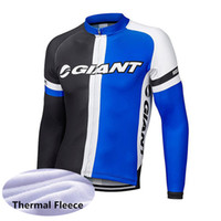 Wholesale giant long sleeve fleece cycling jersey resale online - GIANT team Cycling Winter Thermal Fleece jersey Outdoors Sports Tops Bike Wear Clothes Long sleeve mens Ropa de ciclismo Y53026