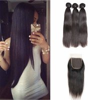 Wholesale virgin indian straight lace closure resale online - Peruvian Deep Wave Loose Straight Body Wave Virgin Hair Bundles With x4 Lace Closure Brazilian Peruvian Mongolian Indian Hair wefts