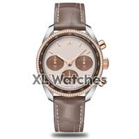 часы хронограф механическая кожа оптовых-Женские дизайнерские часы с механизмом хронографа OS CO-AXIAL с мульти-часовым поясом механические часы коричневые часы с кожаным ремешком с коробкой A112-1
