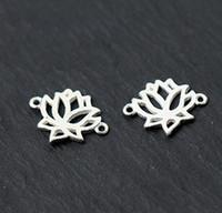 conector de ligação de jóias venda por atacado-2x 925 sólido de prata esterlina jóias de moda charme Lotus Link Connector para mulheres dos homens DIY A2010