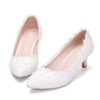 zapatos de boda de encaje de las niñas al por mayor-2 pulgadas Kitten Heel Girl Dress Shoes White Pink Lace Flower Party zapatos de baile Plus Size 10 Wedding Bridal Shoes