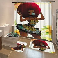 Wholesale rug girls resale online - 4pcs set African Fashion Girl Printing Waterproof Polyester Bathroom Shower Curtain Kit Toilet Cover Bath Mat Non Slip Rug Set