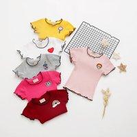 gestickte hemden für mädchen großhandel-Sommer Kinder Mädchen Kurzarm Top Shirt Casual Besticktes T-Shirt Bluse Mädchen T-Shirt Bluse