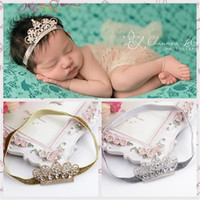 Wholesale hair strap baby resale online - Baby Crystal Crown Hairband Infant Diamond Crown Headband Princess Crystal Diamond Pearl Tiara Crown Head Strap Baby Hair Accessory