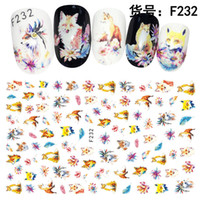 diseños de mariposa tatuaje al por mayor-LCJ 3D / Flor / Gato Plumas Nail Art Stickers Nail Art Design Bling Shinning Butterfly Self Adhesive Tattoos