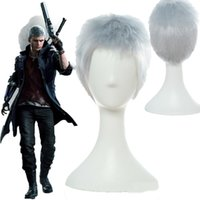 Wholesale silver hair wig cosplay for sale - Group buy Details about New Game Devil May Cry Nero Cosplay Wigs Synthetic Hair Silver Gray Short Wigs