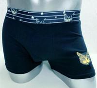 homens preto calças leopardo impressão venda por atacado-Desconto Men Cotton Soft Boxers Leopard Cat Star Print Underwear Boxer Shorts Moda Cuecas Moda de banho de inverno Calças curtas Preto Vermelho