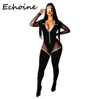 bodysuit kadınlar için uzun kollu toptan satış-Echoine Sheer Mesh Patchwork Tulum Uzun Kollu Bodycon Tulum Uzun Bodysuit Rompers Bayan Tulum Kadın Giyim 2019