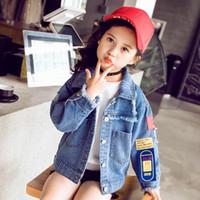 jaqueta coreana azul venda por atacado-2019 Moda Jeans Outono Jacket Crianças Meninas casacos leves Azul do menino da criança Jean JacketCoats Casacos roupas coreana 4 a 12 T