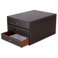 organizador de caixa de arquivo do escritório venda por atacado-3 Camadas Madeira Set Leather Desk Arquivo de armazenamento de gaveta Box Office Organizer Document Container suporte preto