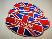 applique eisen kleidung großhandel-Triumph Motorräder Biker Patches DIY Applique Eisen auf Kleidung Patches Etiketten Kleidung Abzeichen pathces Applikationen Weste Jacke Kleidungsstück Label