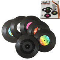 Wholesale family home decor resale online - 6 Home Table Cup Mat Creative Decor Coffee Drink Placemat Spinning Retro Vinyl CD Record Drinks Coasters Camp Kitchen ZZA1102
